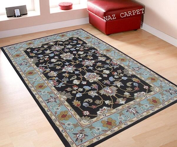 Naz Carpet Handwoven Pure Woolen Persian Carpet with 1 Inch Thickness - Black & Turquoise (5 x 8 Feet)