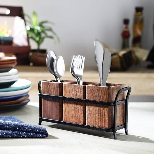 Xllent™JVS Cutlery Holder Trio with ONE Black Iron Stand in Wooden Material