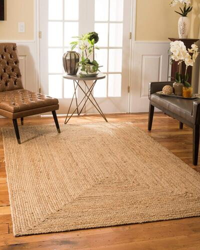 imsid Home Handwoven Jute Round Rug, Natural Fibres, Braided Reversible Carpet for Bedroom Living Room Dining Room (Square 5x3 feet)