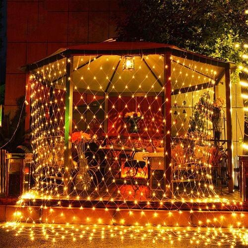 CITRA 300 LED Net Mesh Fairy String Light Still Effect Lighting 10x10 Foot for Diwali Decorationm Backdrop Garden Tree Waterproof - Warm White- 6W Rectangle Wall Led Lamp (Warm White)