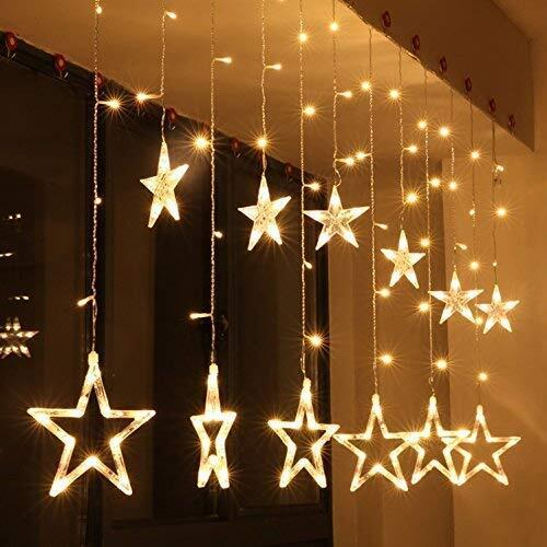 DesiDiya® 12 Stars 138 LED Curtain String Lights, Window Curtain Lights with 8 Flashing Modes Decoration for Christmas, Wedding, Party, Home, Patio Lawn Warm White (138 LED - Star)