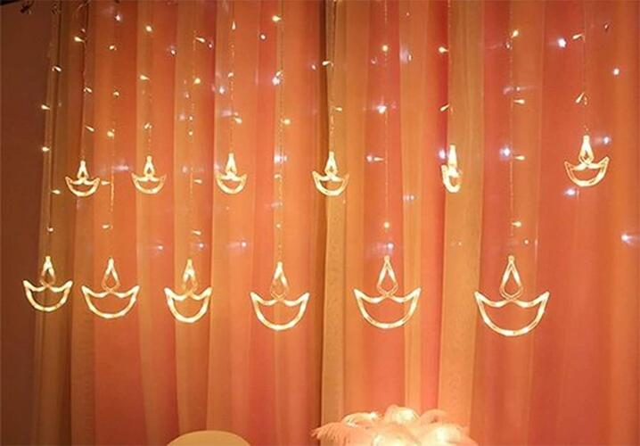 DesiDiya® Warm White Diya/Diwali Light Curtain, String Lights with 12 Hanging Diyas, 8 Flashing Modes, Decoration Lighting, Festive Home Decor