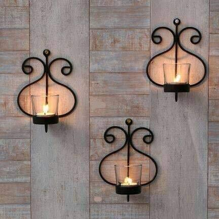 GIG Handicrafts Iron Wall Sconce Tealight Hanging Candle Holder (18 x 13 x 8 cm) - Set of 3