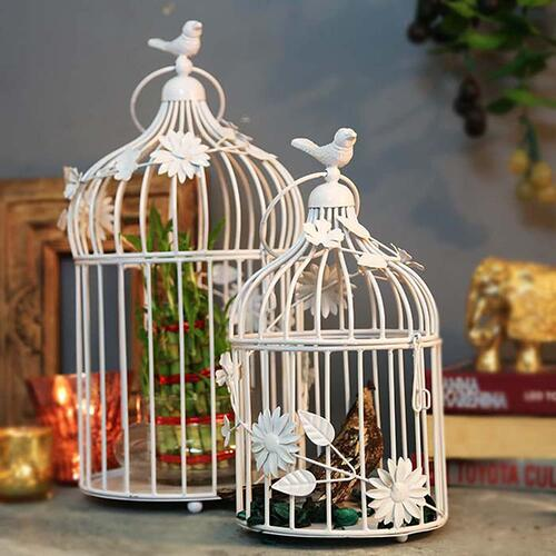 Homesake® Antique Lantern White Bird Cage birdbaths Home Decor as Hanging Pendant Ceiling Decorative Vintage Chandelier For Living Room , Home, Bedroom , Hall Jhumar Lighting , Both Indoor Outdoor (White) - Pack of 2