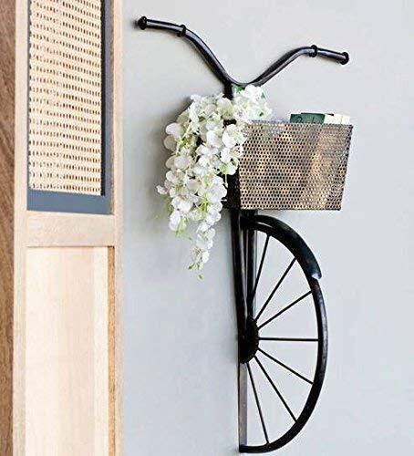 Karigaari India Wrought Iron Cycle Wall Hanging for Books, Decoratives