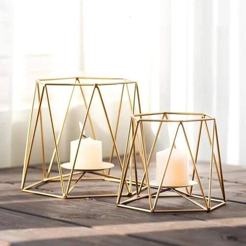 Kraftyhome Gold Candle Holder for Decor | Candle Holder for Home | GEO - S/2