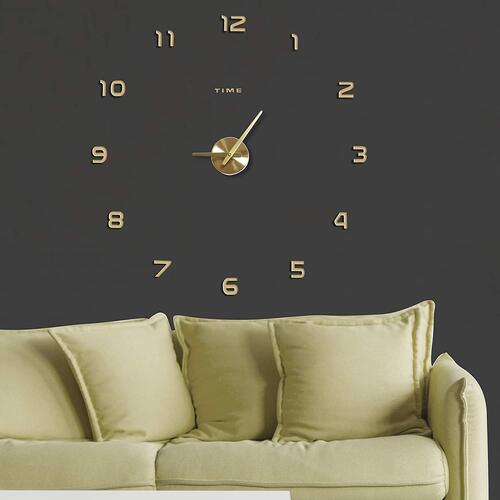 Kurtzy DIY Creative 3D Stickers Wall Clock Analogue for Living Room Bedroom Office (Gold)