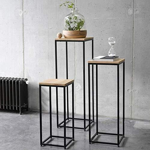 Rezone Art Metal Frame Solid Sheesham Wood Top Nesting Table Decoration for Home | Set of 3 Stools | (Black&Brown)