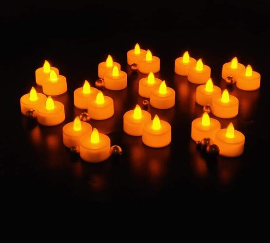 SATYAM KRAFT Plastic LED Tea Light Candle Diya for Diwali Decoration(White, Box of 24)