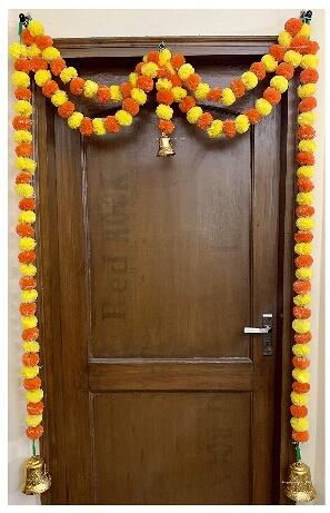 SPHINX Artificial Marigold Fluffy Flowers Garlands Door Toran Set/Door Hangings for Decoration (Approx. 100 X 152 cms) (Yellow & Dark Orange)