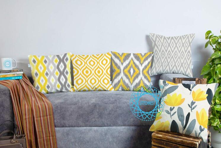 STITCHNEST Ikat Yellow Grey Printed Canvas Cotton Cushion Covers, Grey, Yellow Set of 5 (16 x 16 Inches)