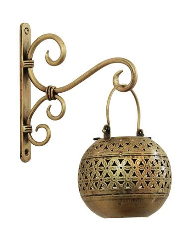 Satyam Crafts Wrought And Cast Iron Handi Diya Lantern with Hanger (Gold_20 x 18 x 2 cm 12x11 cm)