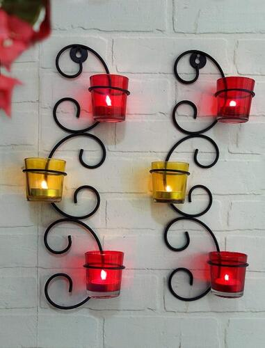 TIED RIBBONS Set of 2 Wall Hanging Tealight Candle Holder Metal Wall Sconce with Glass Cups and Tealight Candles for Christmas Lights for Home Decoration (Set of 2)