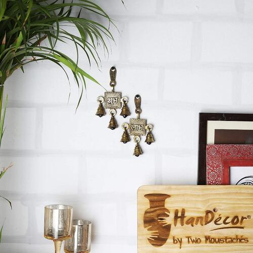 Two Moustaches Brass Shubh Labh Hanging Bells Set (3.2 x 6 inch, Set of 2)